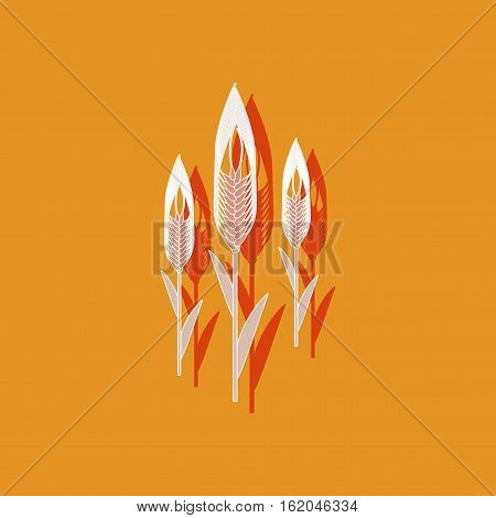 paper sticker on stylish background of triticum