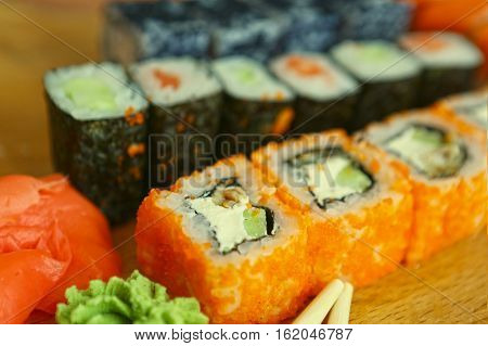 Japanese Sushi Roll Set In Row