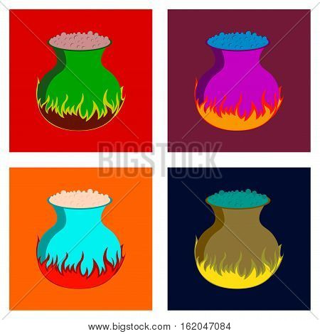 assembly of flat illustration halloween potion cauldron