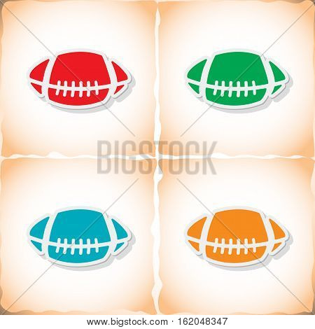 Rugby ball. Flat sticker with shadow on old paper. Vector illustration