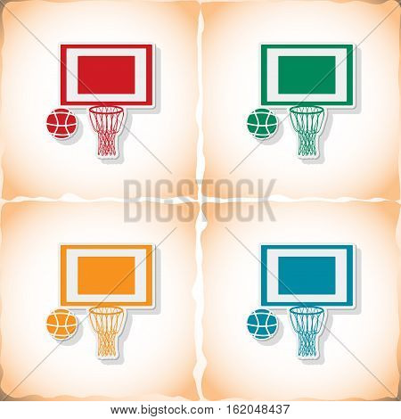 Basketball. Flat sticker with shadow on old paper. Vector illustration