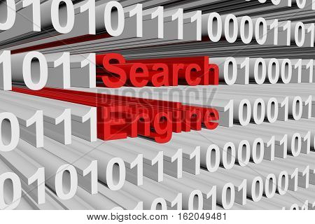 search engine in the form of binary code, 3D illustration