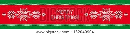 Christmas border. Cross stitch. Scheme of knitting and embroidery. Vector pattern