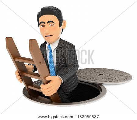3d business people illustration. Businessman going down to the sewers. Dark side. Isolated white background.