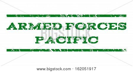 Armed Forces Pacific watermark stamp. Text caption between horizontal parallel lines with grunge design style. Rubber seal stamp with unclean texture.