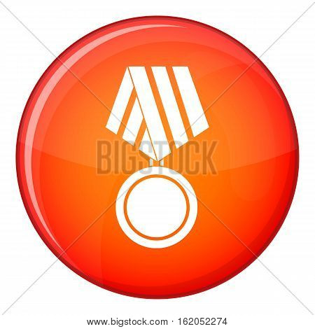 Military medal icon in red circle isolated on white background vector illustration