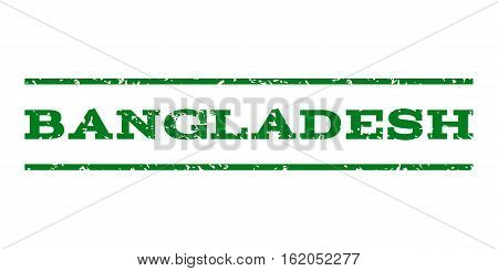 Bangladesh watermark stamp. Text tag between horizontal parallel lines with grunge design style. Rubber seal stamp with scratched texture. Vector green color ink imprint on a white background.