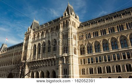 The Rathaus is the city hall of Vienna costructed from 1872 to 1883 in a Neo-Gothic styleit houses the office of the Mayor of Vienna as well as the chambers of the city council.