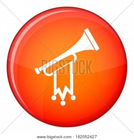 Trumpet with flag icon in red circle isolated on white background vector illustration