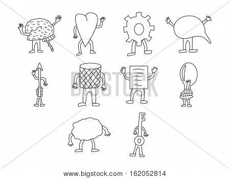 Vector icon set for brain functioning on white background