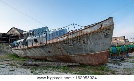 dump the boat on Olkhon island in Russia