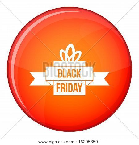 Black friday ribbon icon in red circle isolated on white background vector illustration