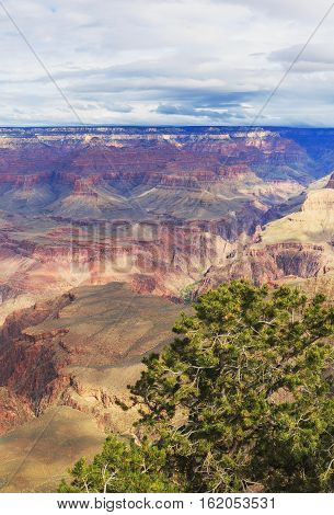 Incredible View Of Rock Formation On The South Rim Of The Grand Canyon National Park, Arizona, Unite