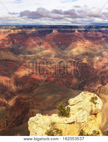 Delightful View Of Rock Formation On The South Rim Of The Grand Canyon National Park, Arizona, Unite