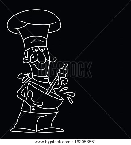 Monochrome outline cartoon chef isolated on black background with copy space for own text