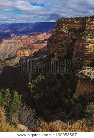 Picturesque View Of Rock Formation On The South Rim Of The Grand Canyon National Park, Arizona, Unit