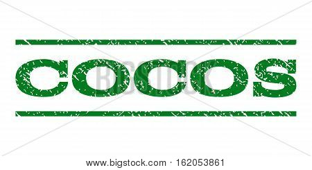 Cocos watermark stamp. Text tag between horizontal parallel lines with grunge design style. Rubber seal stamp with scratched texture. Vector green color ink imprint on a white background.