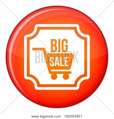 Big sale sticker icon in red circle isolated on white background vector illustration
