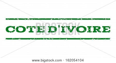 Cote D'Ivoire watermark stamp. Text caption between horizontal parallel lines with grunge design style. Rubber seal stamp with scratched texture. Vector green color ink imprint on a white background.