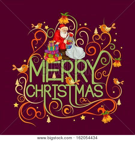 Vector design of Santa Claus with wishlist and letter for Merry Christmas Holiday celebration background