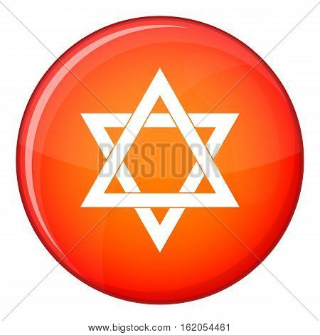 Star of David icon in red circle isolated on white background vector illustration