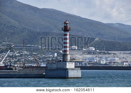 Lighthouse In The Port City. Lighthouse In Tsemess Bay Near Novorossiysk