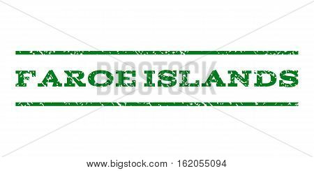 Faroe Islands watermark stamp. Text caption between horizontal parallel lines with grunge design style. Rubber seal stamp with scratched texture. Vector green color ink imprint on a white background.