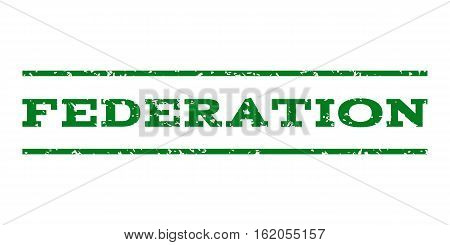 Federation watermark stamp. Text caption between horizontal parallel lines with grunge design style. Rubber seal stamp with unclean texture. Vector green color ink imprint on a white background.
