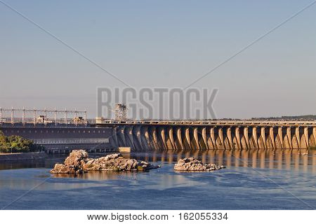 Zaporozhye hydroelectric power station on the Dnieper River in Ukraine