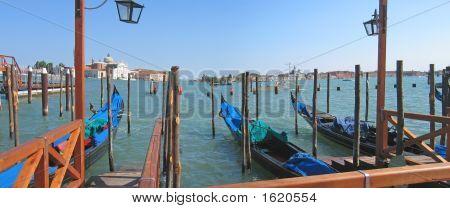 Group Of Gondolas, Venice, Italia, Panorama