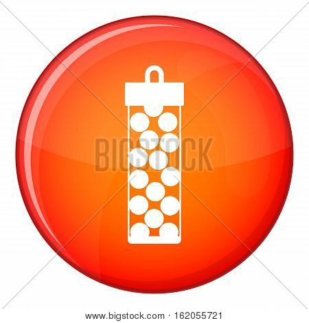Pack with paintball bullets icon in red circle isolated on white background vector illustration