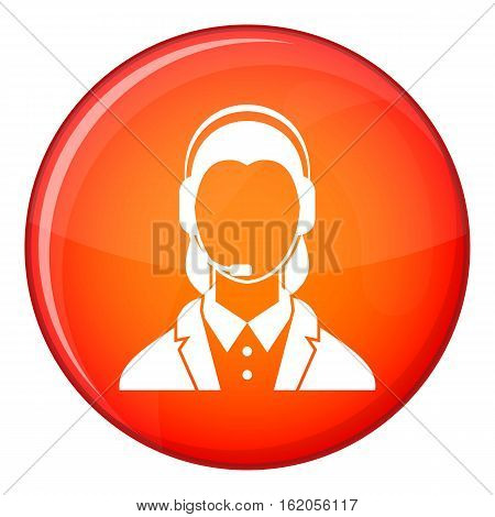 Support phone operator in headset icon in red circle isolated on white background vector illustration