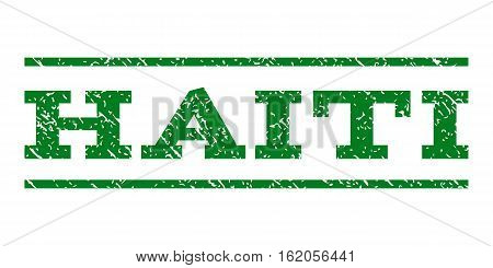 Haiti watermark stamp. Text caption between horizontal parallel lines with grunge design style. Rubber seal stamp with scratched texture. Vector green color ink imprint on a white background.