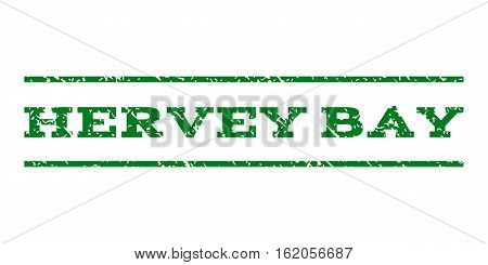 Hervey Bay watermark stamp. Text tag between horizontal parallel lines with grunge design style. Rubber seal stamp with scratched texture. Vector green color ink imprint on a white background.