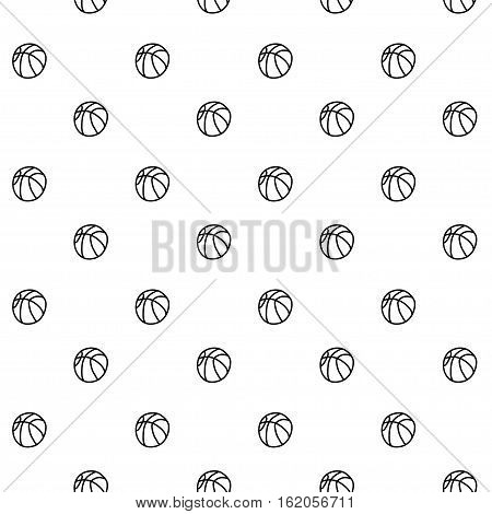 Vector hand drawn cartoon seamless pattern with basketballs. Sport school theme. Black and white basketball pattern for paper textile polygraphy game web design