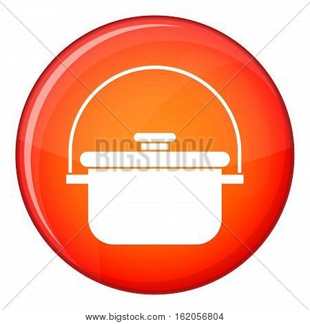 Cooking cauldron icon in red circle isolated on white background vector illustration