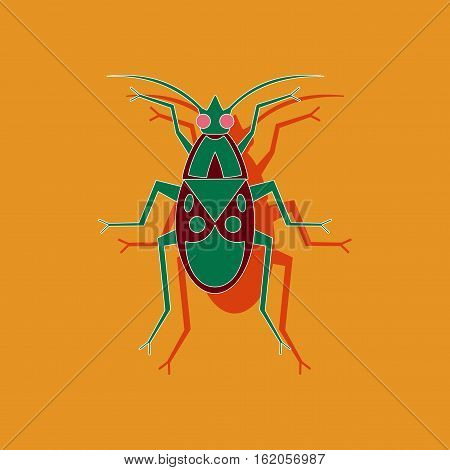 paper sticker on stylish background of soldier bug