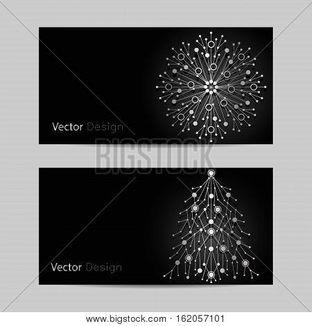 Set of horizontal banners. Silver snowflake and fir tree made of connected lines and dots on black background.
