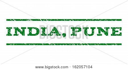 India, Pune watermark stamp. Text caption between horizontal parallel lines with grunge design style. Rubber seal stamp with unclean texture. Vector green color ink imprint on a white background.