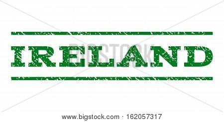 Ireland watermark stamp. Text caption between horizontal parallel lines with grunge design style. Rubber seal stamp with unclean texture. Vector green color ink imprint on a white background.