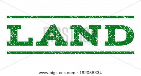 Land watermark stamp. Text caption between horizontal parallel lines with grunge design style. Rubber seal stamp with dirty texture. Vector green color ink imprint on a white background.