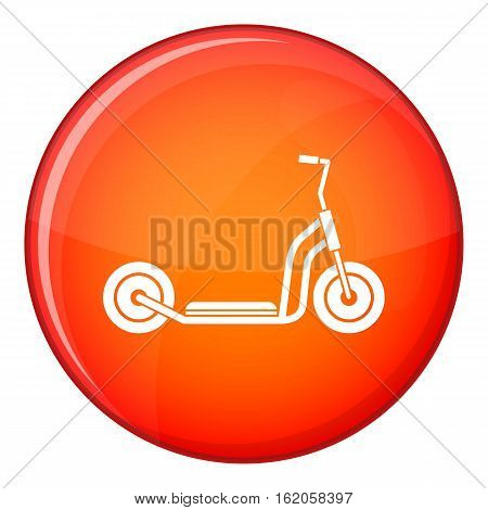 Kick scooter icon in red circle isolated on white background vector illustration