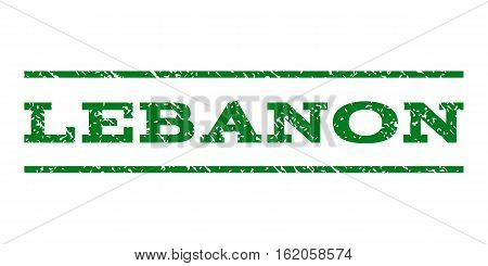 Lebanon watermark stamp. Text tag between horizontal parallel lines with grunge design style. Rubber seal stamp with scratched texture. Vector green color ink imprint on a white background.