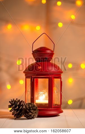christmas tree light on wooden table. Celebrating new year
