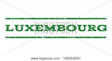 Luxembourg watermark stamp. Text caption between horizontal parallel lines with grunge design style. Rubber seal stamp with unclean texture. Vector green color ink imprint on a white background.