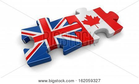3D Illustration. UK and Canadian puzzle from flags. Image with clipping path