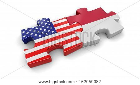 3D Illustration. USA and Indonesia puzzle from flags. Image with clipping path