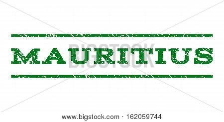 Mauritius watermark stamp. Text caption between horizontal parallel lines with grunge design style. Rubber seal stamp with dirty texture. Vector green color ink imprint on a white background.