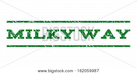 Milky Way watermark stamp. Text caption between horizontal parallel lines with grunge design style. Rubber seal stamp with scratched texture. Vector green color ink imprint on a white background.