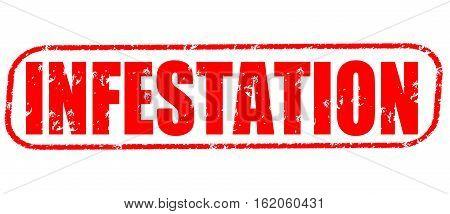 Infestation on the white background, red illustration